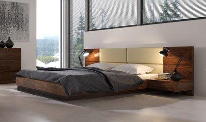 Ekskluzywne, fornirowane łóżka z pojemnikiem na pościel