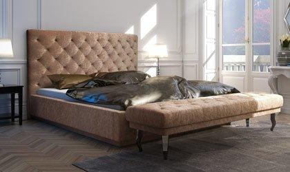 Ekskluzywne, pikowane łóżko Glamour
