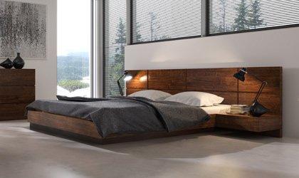 Fornirowane, nowoczesne łóżko dostępne w salonach w Krakowie, Warszawie, Wrocławiu