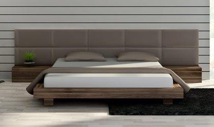 Łóżko fornirowane z tapicerowanym wezgłowiem na wymiar - Lukano