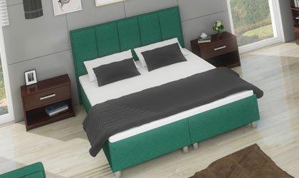 Łóżko kontyntentalne z wbudowanym materacem