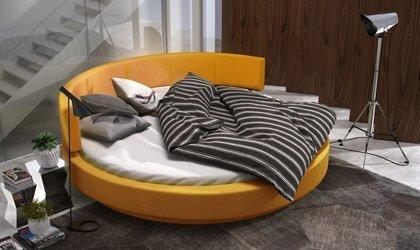 Oryginalne łóżko z okrągłym materacem