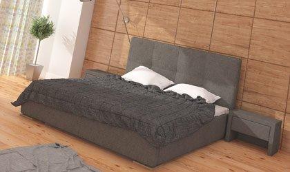 Łóżko z pikowanym wezgłowiem