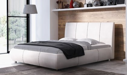 Nowoczesne łóżko z kontrastowymi przeszyciami