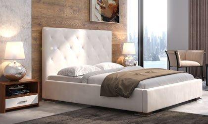 Nowoczesne łóżko z pikowanym wezgłowiem i stolikami