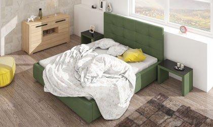 Nowoczesne łóżko z pojemnikiem na pościel