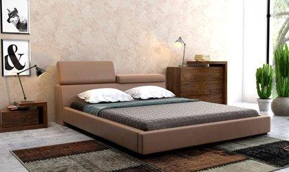 Nowoczesne, tapicerowane łóżko z podnoszonymi zagłówkami