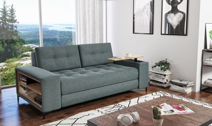 Sofa z drewnianymi półkami na wymiar