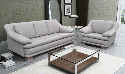 Stylowy zestaw sofy z fotelem w skórze naturalnej
