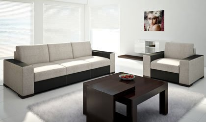 Zestaw wypoczynkowy: sofa do spania z fotelem