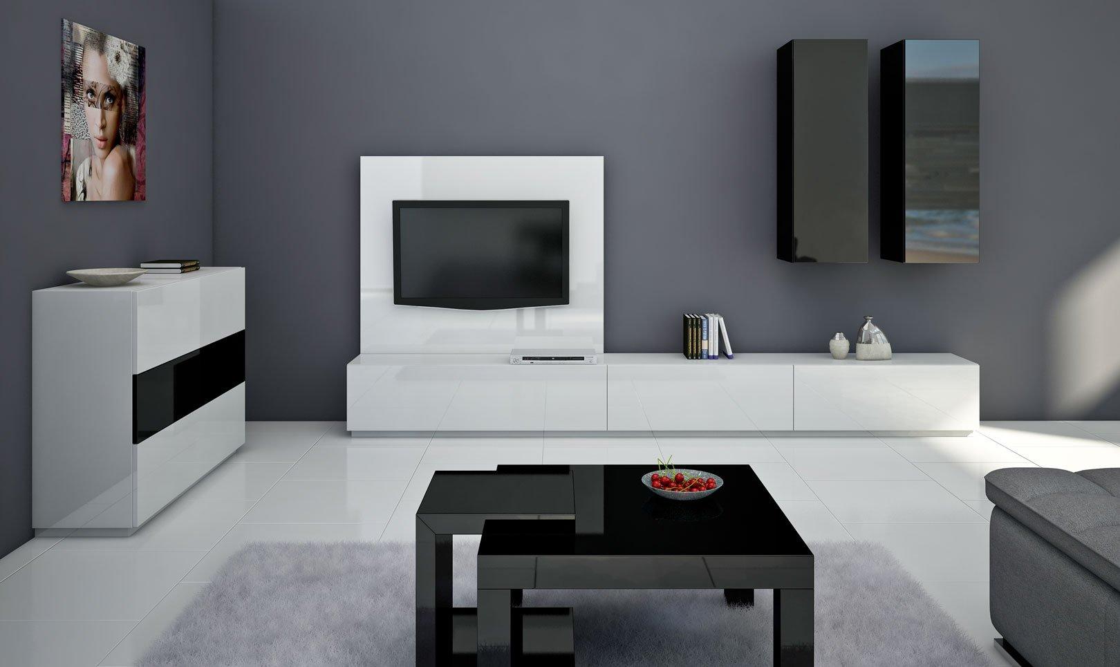 meble do pokoju z podwieszanymi komodami nowoczesne