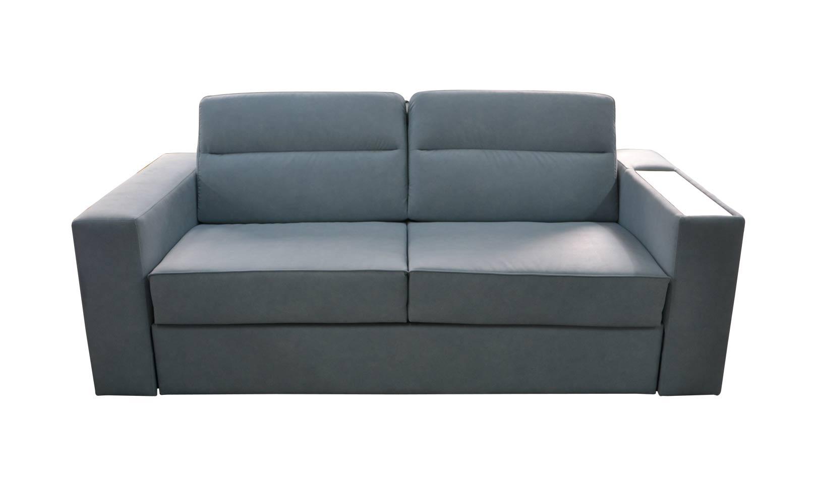 Rozkładana sofa Optima 200 cm z drewnianymi półkami ...